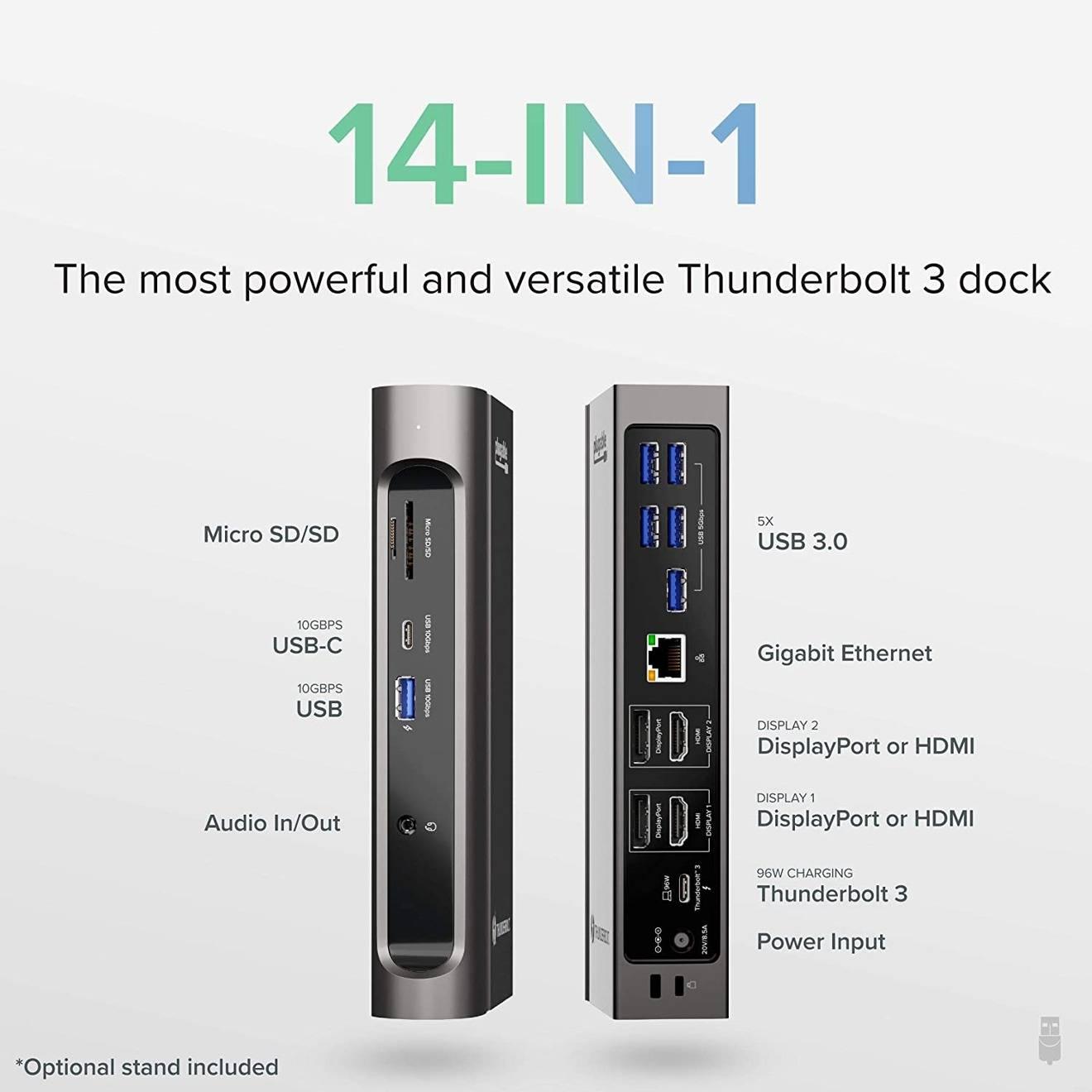 可插拔的新Thunderbolt 3基座可提供96W充电,支持两个4K显示屏
