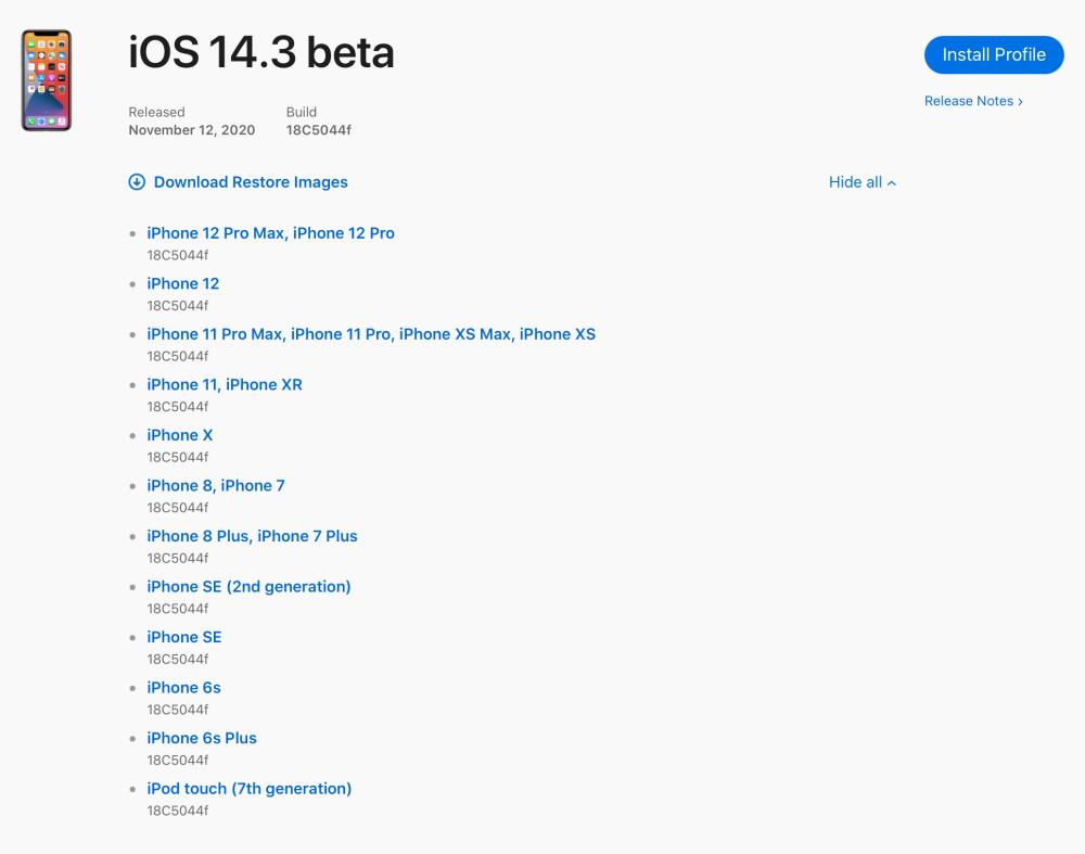 苹果发布了iOS 14.3的第一个开发人员测试版