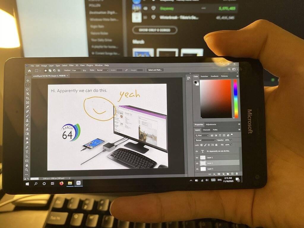 微软停产的Windows Phone现在可以运行Photoshop