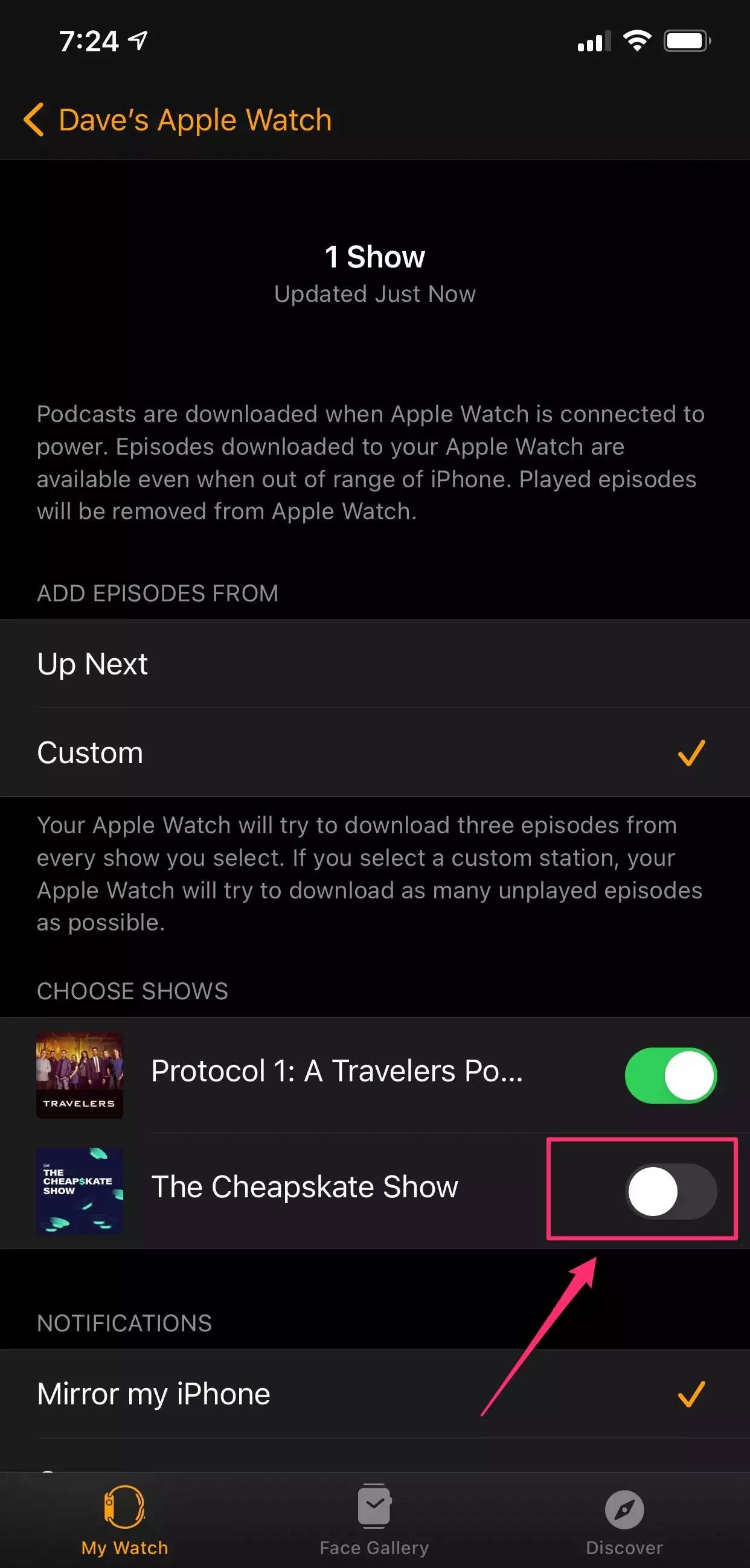 如何从iPhone的Watch应用程序删除Apple Watch上存储的播客