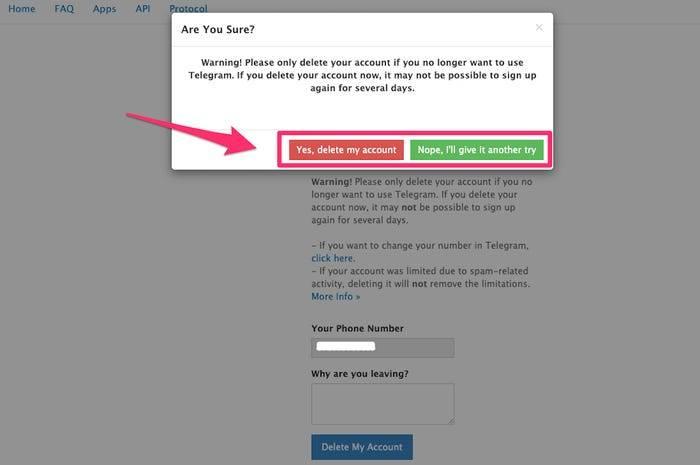 如何在Telegram消息平台上删除帐户,删除后会擦除所有数据