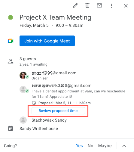 如何为Google日历活动建议新的时间