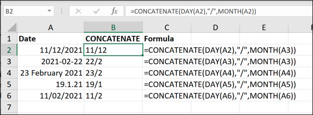 如何从Microsoft Excel中的日期中删除年份