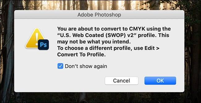 如何带回Photoshop的警告对话框