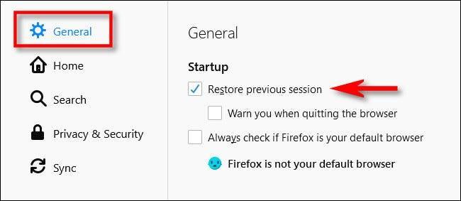 如何使Firefox始终打开您以前打开的选项卡
