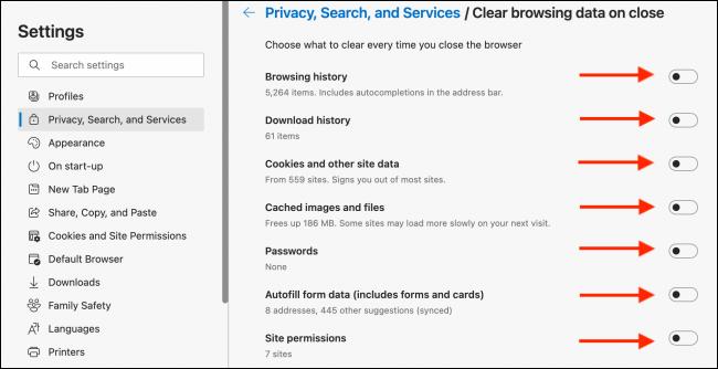 关闭Microsoft Edge时如何自动清除浏览数据