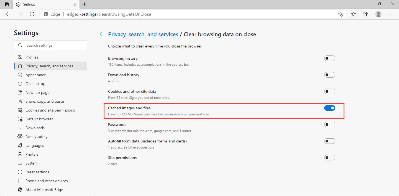 如何清除Microsoft Edge中的缓存?