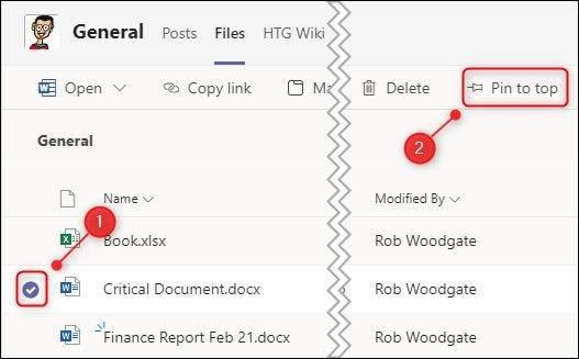 如何在Microsoft Teams中固定文件