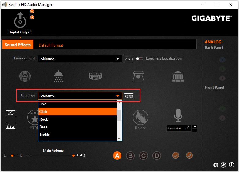 用于Realtek HD声音的Realtek均衡器Windows 10