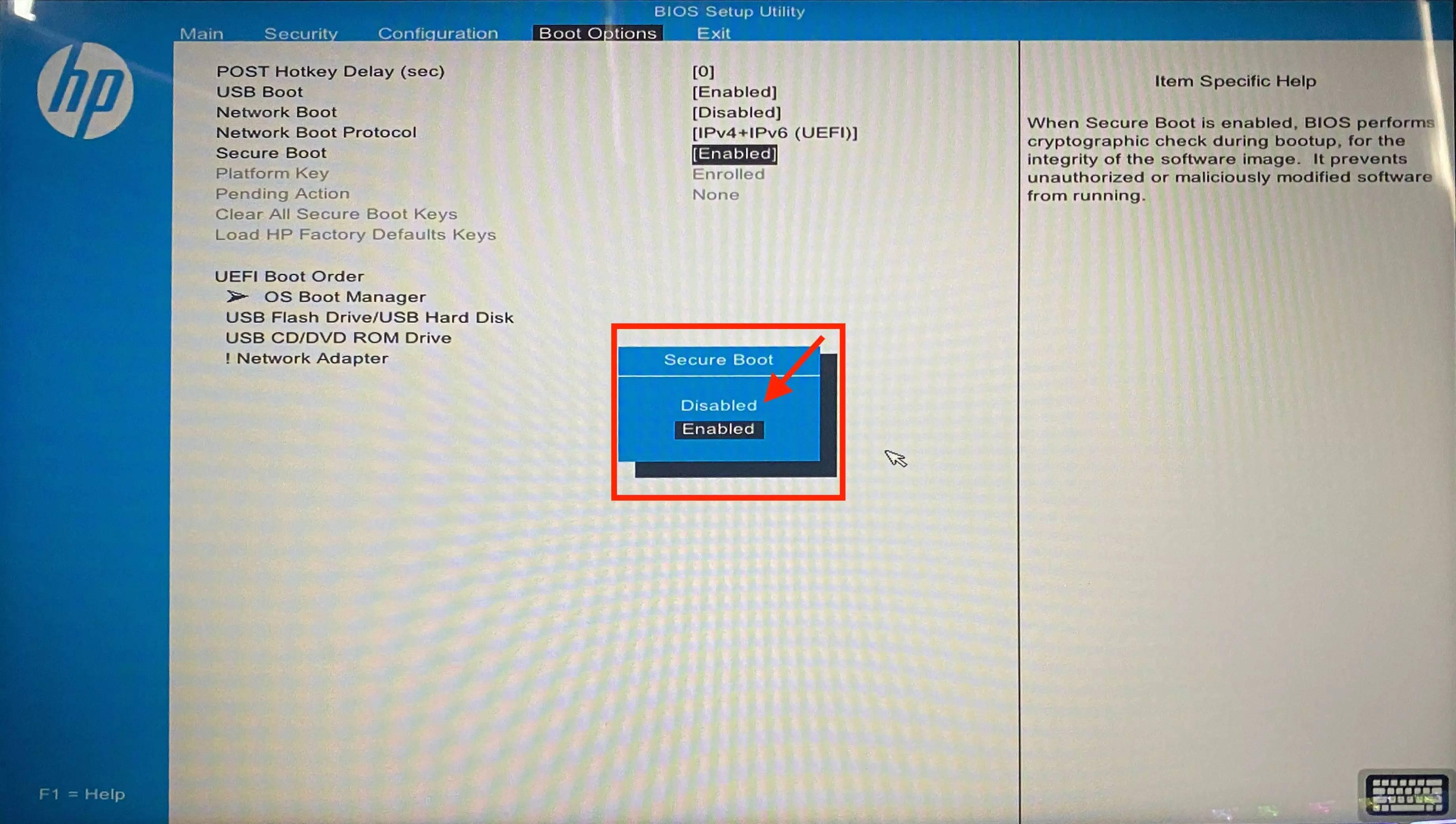 当您需要安装与安全功能不兼容的组件时,如何在PC上禁用安全启动