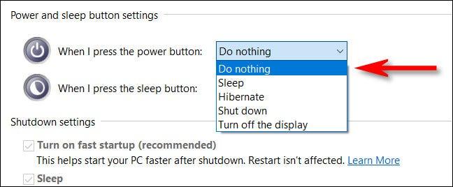 如何在Windows 10上禁用PC的电源按钮
