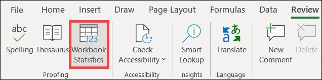 如何在 Microsoft Excel 中获取工作簿统计信息