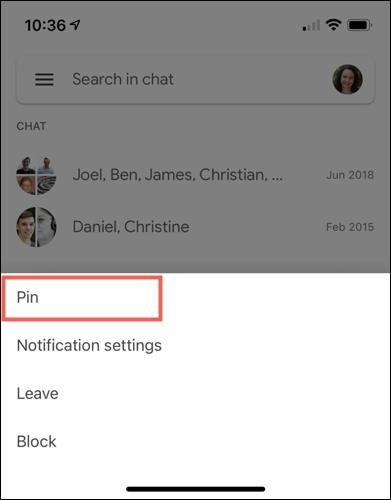 如何在 Google Chat 中固定对话