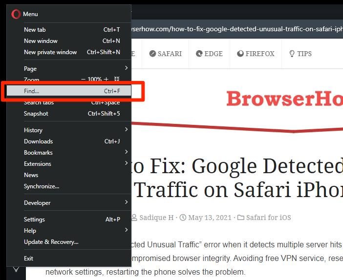 如何在Opera电脑中在页面上搜索和查找?