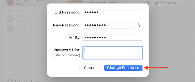 如何在 Mac 上更改密码