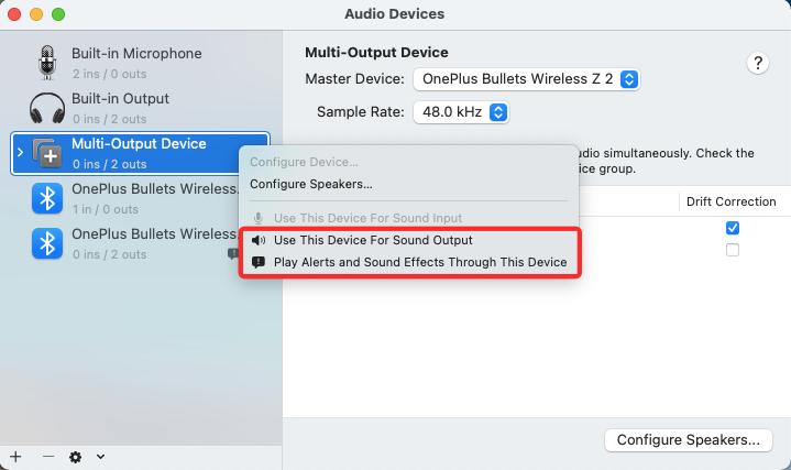如何在 macOS 上设置多个扬声器的输出