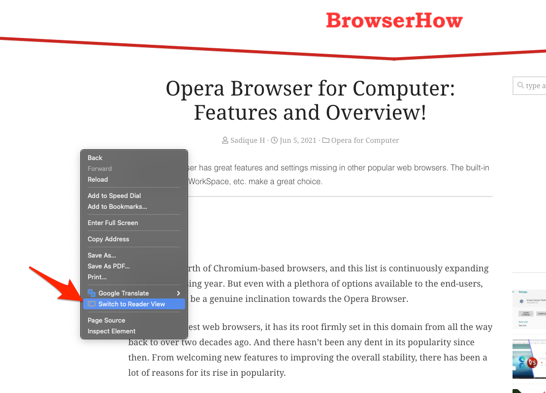 如何在 Opera 计算机上启用阅读器模式视图?