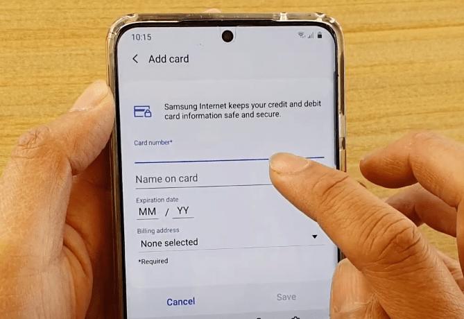 如何在三星 Internet 中添加卡和管理付款?