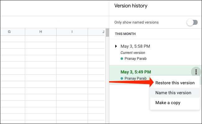 如何在 Google 表格中检查版本历史记录