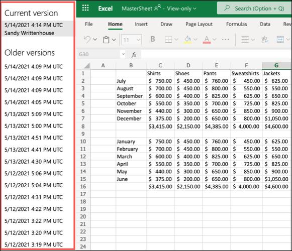 如何在 Microsoft Excel Online 中查看版本历史记录