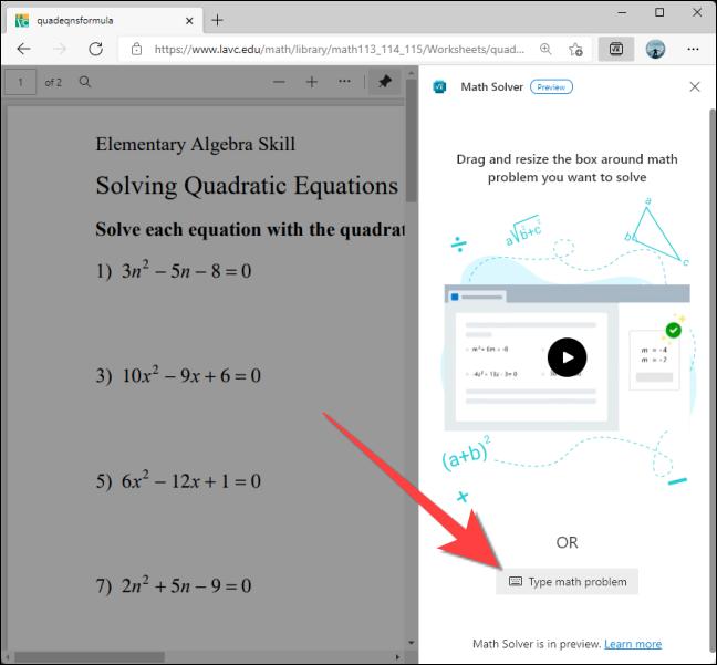 如何使用 Microsoft Edge 解决数学问题