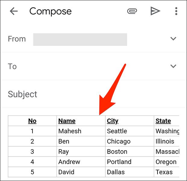如何在 Gmail 中向电子邮件添加表格