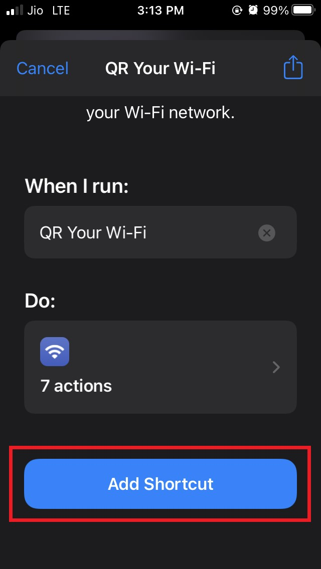 使用快捷方式从 iPhone 与二维码共享 WiFi 密码