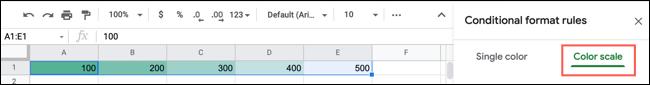 如何根据 Google 表格中的值应用色阶