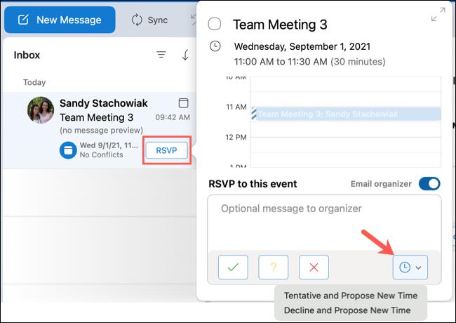 如何为 Microsoft Outlook 活动提议新时间