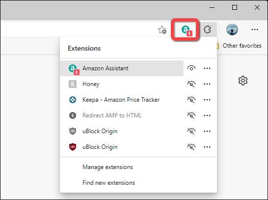 如何在 Microsoft Edge 工具栏上隐藏或显示扩展