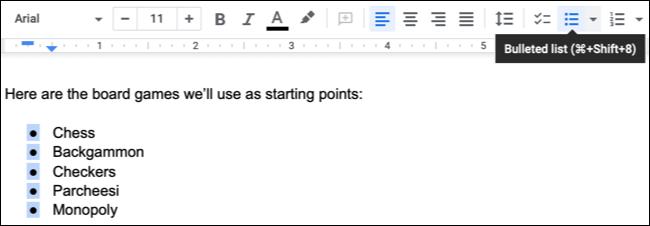 如何在 Google Docs 中为列表使用自定义项目符号