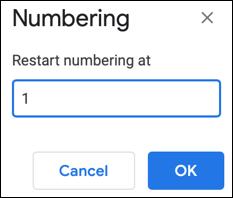 如何在 Google 文档中编辑、重新启动或继续编号列表